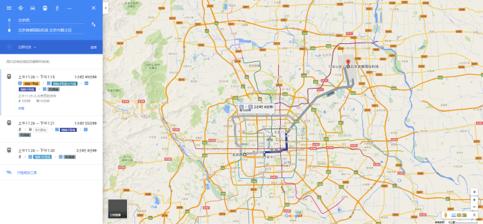 北京市丰台区北京西站至北京首都国际机场 - Google地图 2016-07-12 22-27-04